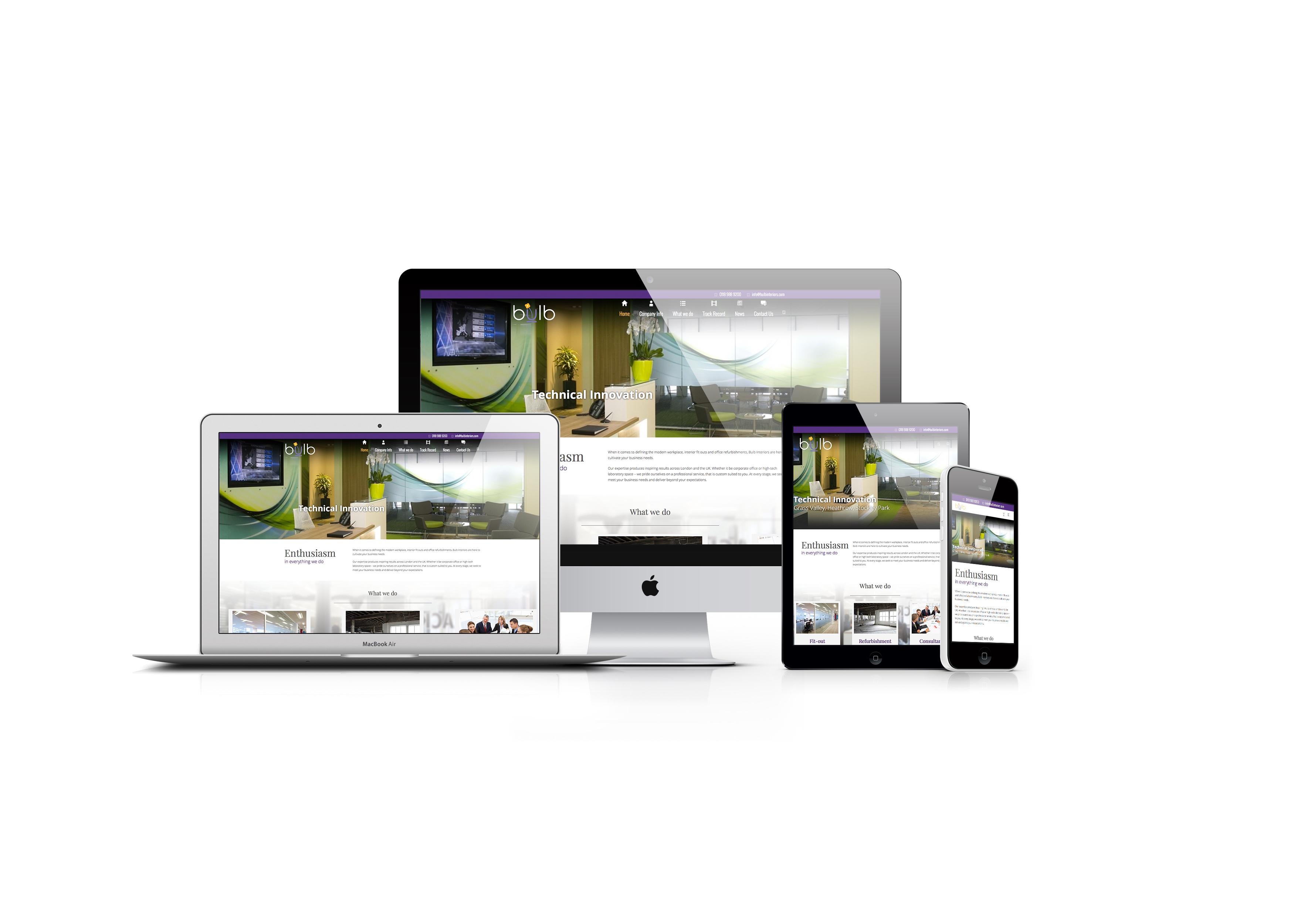 Bulb Interiors website design and development